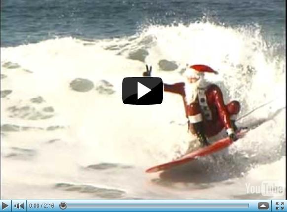 Surfing Santa visits El Porto and Hermosa Beach [VIDEO]