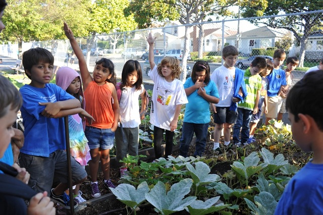 Students learn about healthy food during a class at the school's garden. Photo by Chelsea Sektnan