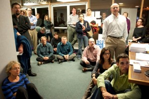 Citizens were unable to fit into the council chambers so many sat in entryway and watched meeting from the television.
