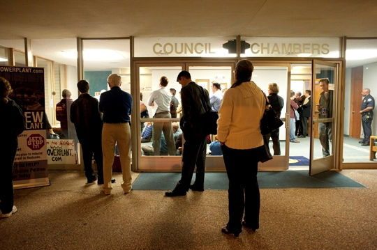 The city council chambers were overflowing on Tuesday night when AES presented a plan to restructure the AES power plant to the city council.
