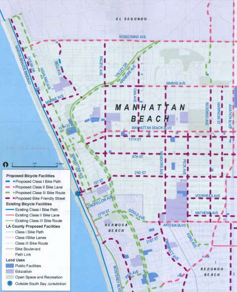 A map of the proposed bike network in Manhattan Beach.