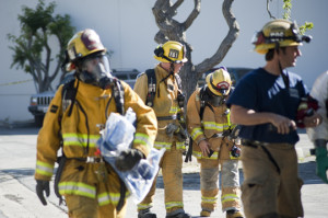 Torrance fire department examining the area.