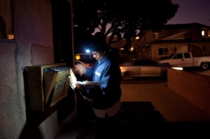 postal worker at night