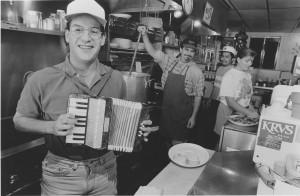 Stephen Domingue, years ago, in his Ragin' Cajun kitchen in Hermosa Beach.