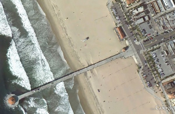 The width of the beach is much wider now, at about 420 feet, than it was in the late 1930s, at about 100 feet. Photo courtesy of Google Earth