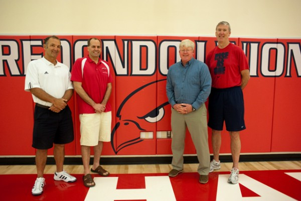 Gene Simon, Tommy Chaffins, Tim Ammentorp and Steve Shaw, the group who lost the most weight, pose together in the RUHS gym 122 pounds lighter. Photo by Chelsea Sektnan.