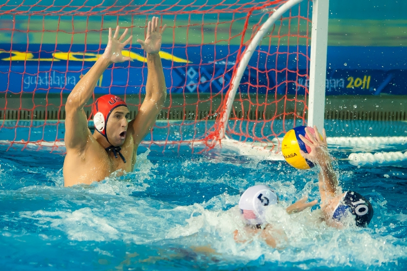 U.S. Olympic team water polo goalie Merrill Moses defends the goal during a match. Photo courtesy Straffon Images