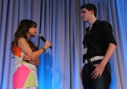 Paula Abdul, one of the main speakers at the LEAP foundation camp, talks to a student on stage. Photo submitted