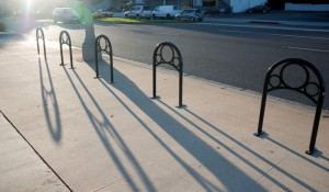 Five bike racks were installed outside Catalina Coffee Company and the Mysterious Galaxy bookstore. Photo by Chelsea Sektnan