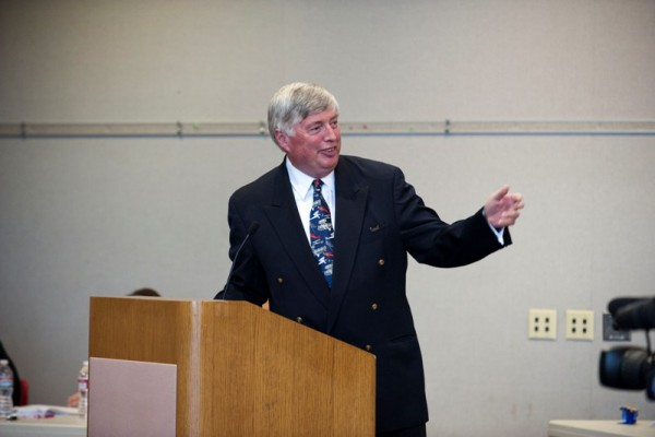 Fred Bruning, the CEO of CenterCal Properties LLC presents his vision at Thursday's meeting. Photo by Chelsea Sektnan