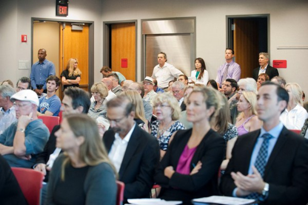 Residents packed the main library conference room on Thursday afternoon from 1:30 - 6 p.m. last Thursday to hear three developer's vision's for the Redondo Beach waterfront. Photo