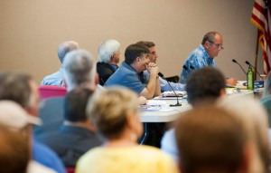 City council members listen to the developers during the five hour meeting on Thursday. Photo