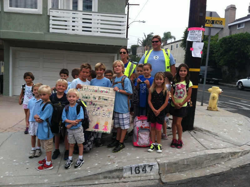 Students at Jefferson Elementary walk to school. Photo submitted by the Blue Zones Project