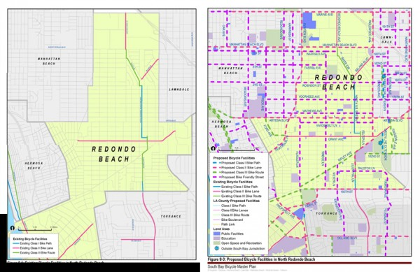 The current Redondo Beach bike system and the proposed routes.