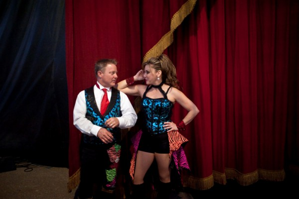 "Jon and his wife Laura, a showgirl, were high school sweethearts. They got married in the center ring dressed in their circus costumes. ""I wore more makeup than my wife,"" said Jon, who was dressed like a clown."
