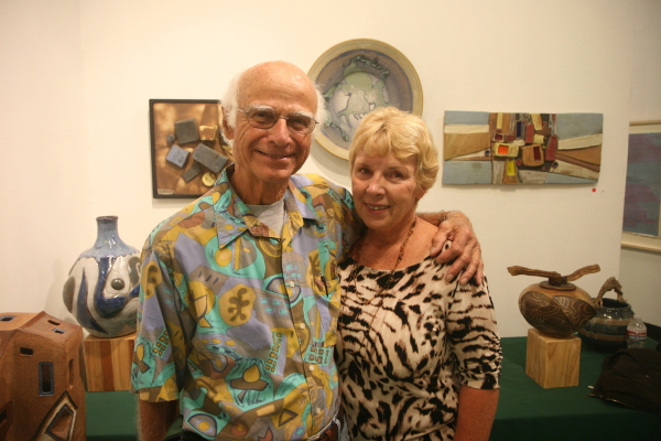 Frank and Casey Matranga, with Frank's work behind them, at Cannery Row Studios in Redondo Beach. Photo