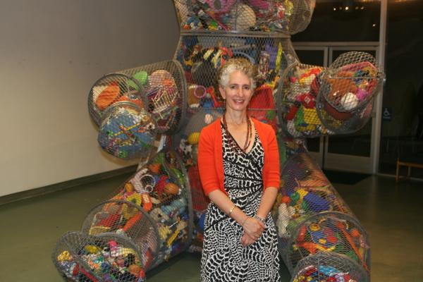 Joyce Dallal and her work at the Creative Arts Center in Manhattan Beach. Photo