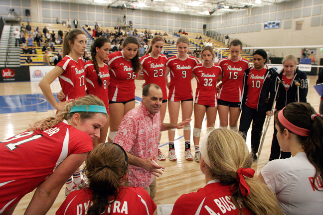 Redondo head coach Tommy Chaffins gives the game plan to his team before facing Marymount in the CIF Division 1-AA championship match. Photo by Ray Vidal