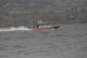 A U.S. Coast Guard boat patrols the waters off Palos Verdes. Photo by Chelsea Sektnan
