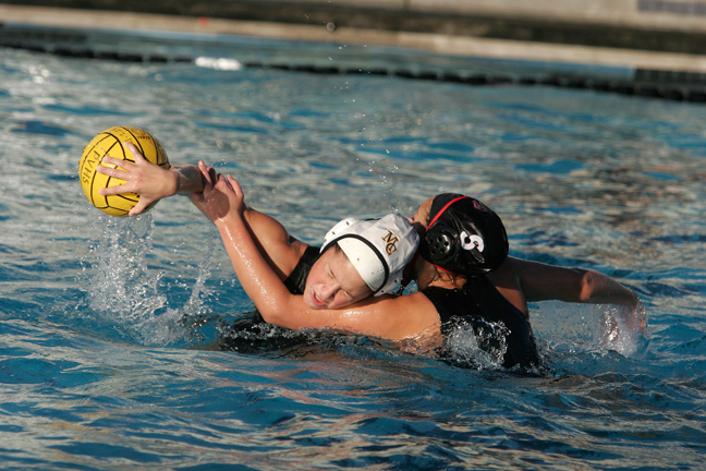 Mira Costa sophomore Isabella Magno battles a Palos Verdes defender in the Bay League opener for both teams. Magno scored once in the 9-8 quadruple overtime loss. Photo by Ray Vidal