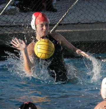 Mira Costa goalkeeper Katy Heatherton makes one of her 10 saves against third-ranked Palos Verdes. Photo by Ray Vidal