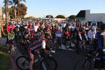 Close to 300 riders gathered at Riviera Village Saturday morning for a memorial ride in honor of Steve Bowen. Photo by David Rosenfeld