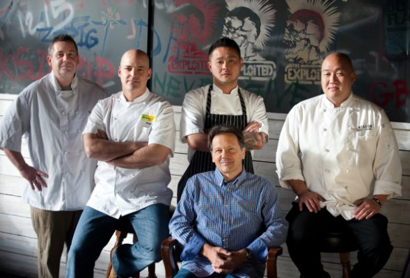 Chefs Dominique Theval of Dominque's Kitchen, Alan Jackson of Lemonade, Tin Vuong of Abigaile, and Ben Wright of Jackson's Food + Drink, along with Jackson's owner Scott Cooper (seated)) represent the best new restaurants that opened in the South Bay during 2012. Photo by Chelsea Sektnan