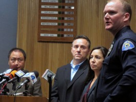 Lieutenant Joe Hoffman (far right) talks to reporters about the $25,000 being offered to anyone who has information that might lead to the arrest of the man who attacked and stabbed two 13-year-olds at the South Bay Galleria on Dec. 29. Photo by Rachel Reeves