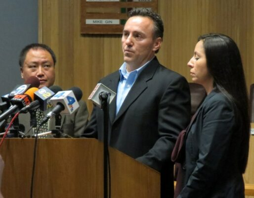 Mayor Mike Gin (left) looks on as Rich and Maria, parents of the 13-year-old male stabbed on Dec. 29 at the South Bay Galleria, talk to reporters about their son and the $25,000 being offered to anyone who has information that might lead to the arrest of his attacker. Photo by Rachel Reeves