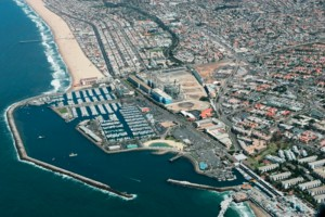 An aerial shot of the Redondo Beach waterfront, which a power plant has occupied for a century. Photo by Peter Bernstein