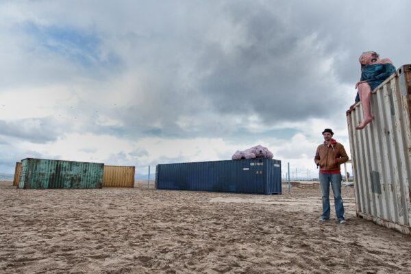 "Michael Sistig and his ""Anti-Ark"" installation piece on the beach in El Segundo. Photo by Gloria Plascencia"