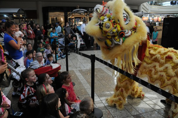 Local Chinese dancers celebrate Chinese New Year at South Bay Galleria. Photo by Diedre Davidson
