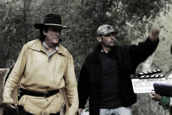"Actor Michael Madsen and director Vernon Mortensen on the set of ""A Sierra Nevada Gunfight,"" coming soon from Rogue Arts"