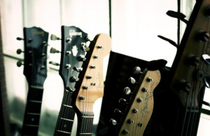 Jimmy Messer's guitars. Photo by Brad Jacobson