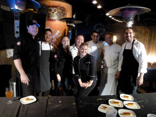Chefs Dean McDermott, Tin Vuong of Abigaile, Emily Collison, Jet Tila, Jorge Valines,  and Tony diSalvo pose together with two unidentified colleagues at last month's Abigaile kitchen takeover. Photo by Richard Foss