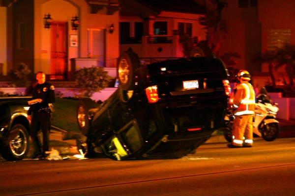 Police and fire respond to a car crash on the 700 block of South Catalina Avenue in Redondo Beach on Wednesday night. Photo by Rachel Reeves