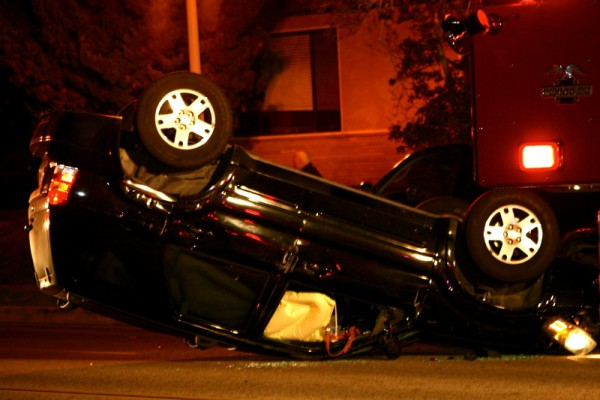 A car flipped upside-down on the 700 block of South Catalina Avenue in Redondo Beach on Wednesday night. Photo by Rachel Reeves