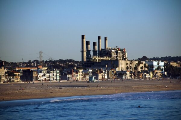 A view from Hermosa Beach of the north-facing side of the AES plant on Harbor Drive. Photo by Chelsea Sektnan