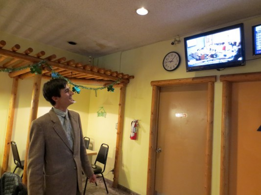 District 4 candidate Julian Stern watches the results roll in at Snax on Artesia. Photo by Rachel Reeves