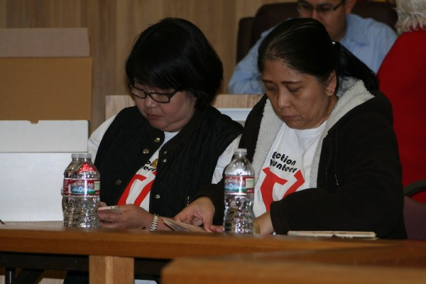 Absentee votes being counted Tuesday night. Photo