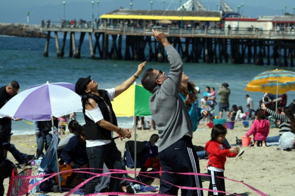 People keeping an eye on their kites at the 39th Annual Festival of the Kite in Redondo Beach. Photo