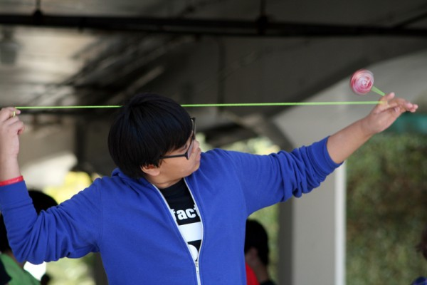 A yo-yo master takes the stage to compete at the 39th Annual Festival of the Kite, which also included jiu-jitsu and yo-yo competitions. Photo