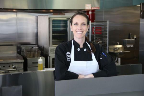 Celebrity chef Meg Hall in her recently-opened Redondo Beach restaurant. Photo