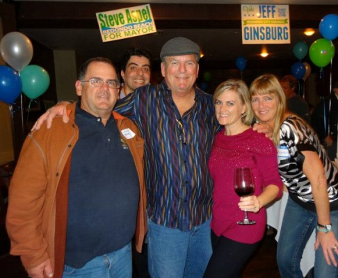 Hopes were high at HT Grill Tuesday night. Pictured are Tony Czuleger, mayoral candidate Steve Aspel (who got 39.7 percent of the vote), and residents Lisa Rodriguez and Mary Ganis – all of whom have been publicly opposed to Measure A, which is at this point losing by a slim margin. Photo courtesy of Mary Ganis