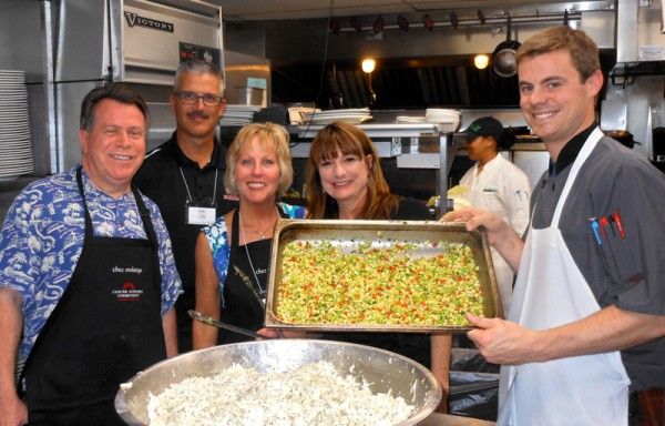 Chefs display their handiwork: Scott Donnelly, Mark Coates, Mindy Stogsdill, Pua Donahue, Chez Melange Executive Sous Chef-Thatcher Mills. Photo courtesy of Theresa Plakos