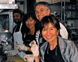Having fun in the kitchen: L/R Adrian Bastida of Chez Melange, Sandi Kato, Steve Tornicelli, Donna Morita-CSC-RB Board Member. Photo courtesy of Theresa Plakos