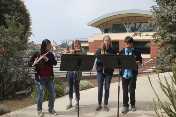 Mira Costa band students Kathrine An, Sarah Kennedy, Kaitlyn McQuown, and Eric Liu. Courtesy of Joel Carlson