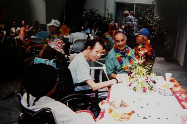 Larry Delassus enjoys himself at an August 2012 luau at the Carson Assisted Living Facility. Photo by Debbie Popovich