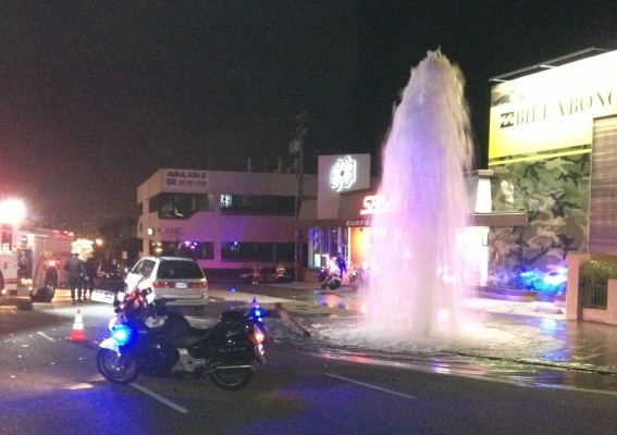 HBPD arrested a woman after she swerved to avoid a DUI checkpoint and ended up taking out a power line and fire hydrant. Photo submitted by HBPD