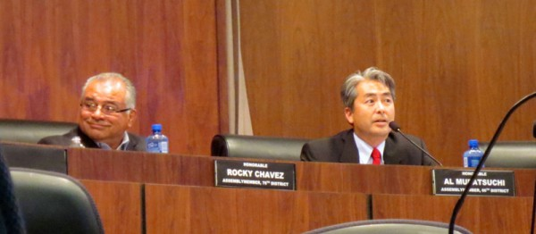 Assemblymen Rocky Chavez and Al Muratsuchi talk sequestration and its impact on aerospace. Photo by Rachel Reeves